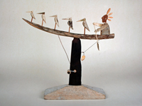 Canoe with birds